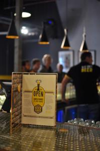 Beerhouse menu on the bar counter