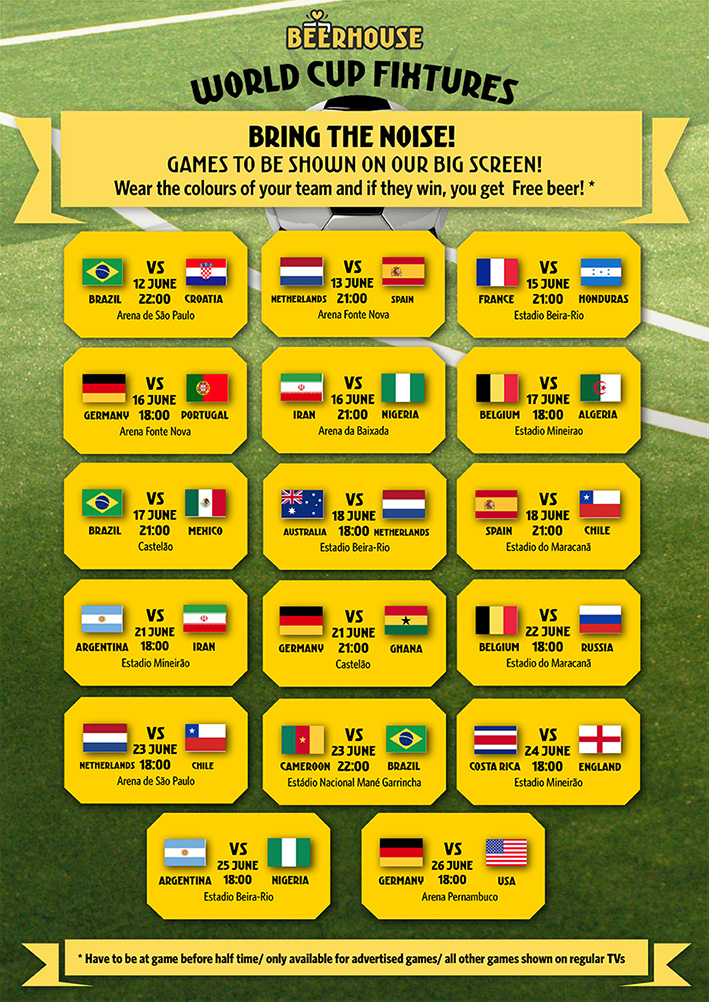 World Cup Beerhouse Fixtures