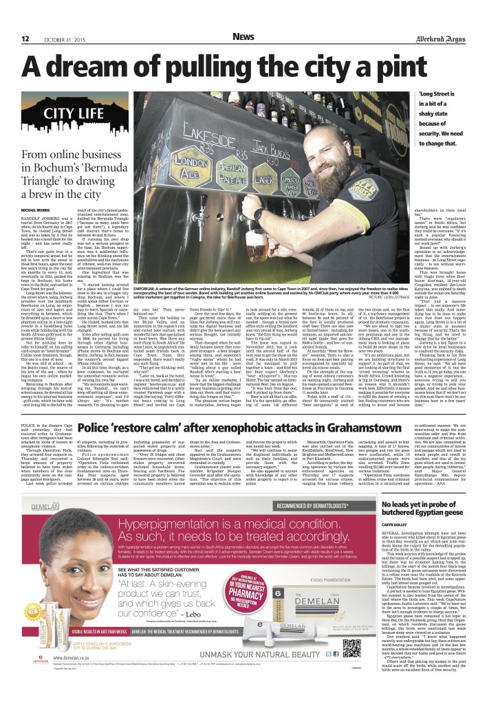Profile on Beerhouse and Head Dreamer Randolf Jorberg in the Weekend Argus